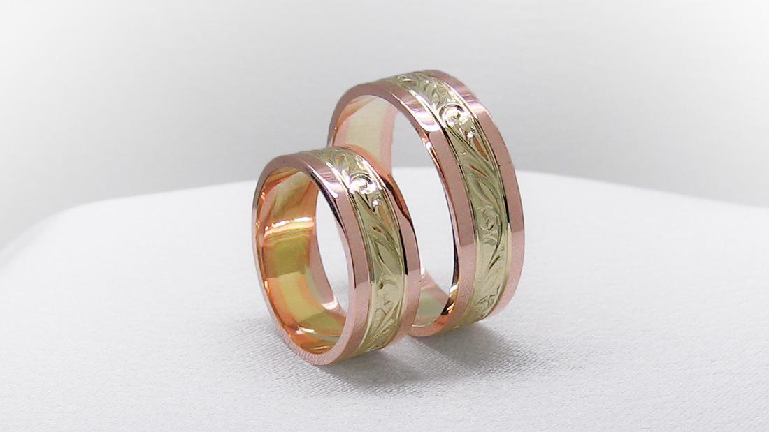 Snubní prsteny ze žlutého a růžového zlata